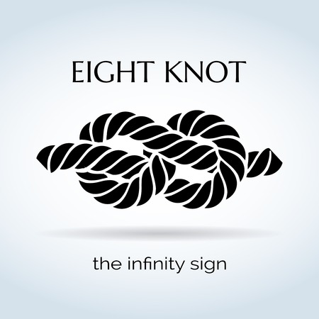 Black and White Rope Eight Knot Иллюстрация