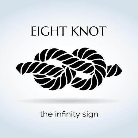 signo de infinito: Blanco y Negro Cuerda ocho nudos