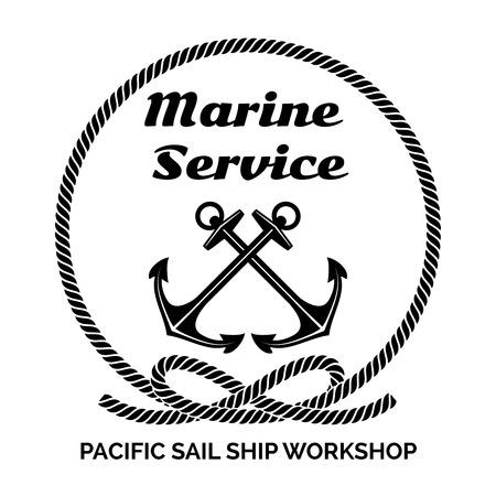 at anchor: Dise�o para Marine Service Vectores