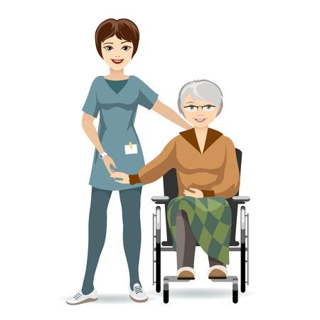paraplegico: Mujer mayor en silla de ruedas y la enfermera