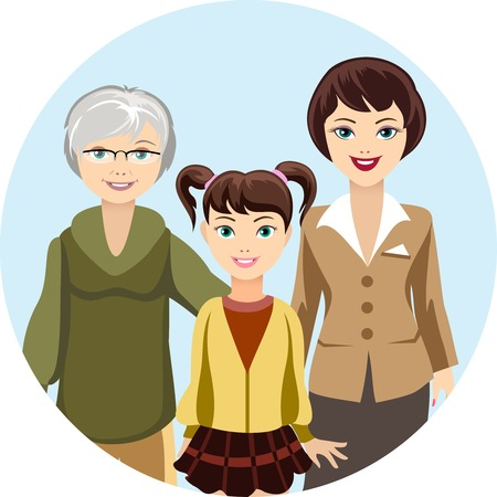 middle age woman: Cartooned Females in Different Ages