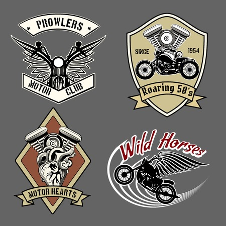 engines: Vintage motorcycle labels Illustration