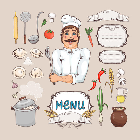 russian cuisine: Menu for russian cuisine Illustration