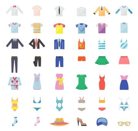 ropa de verano: Gran Conjunto de Iconos de la ropa