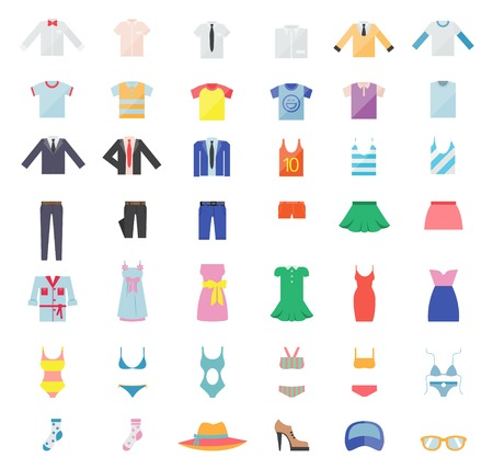coat and tie: Large Set of Clothing Icons Illustration