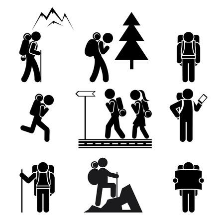 turista: Escursionismo icone persone Vettoriali