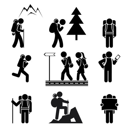 walking trail: Hiking people icons