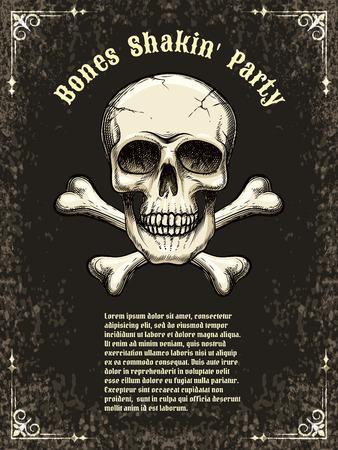 Vector skull frame poster template Illustration
