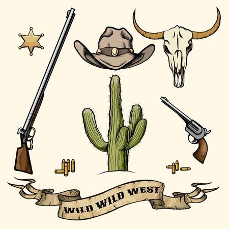 野生の西の要素  イラスト・ベクター素材