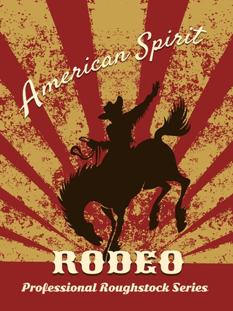 rodeo americano: Cartel retro rodeo Vectores