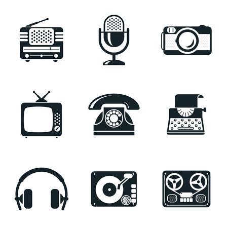type writer: Black and White Vintage Device Icons Illustration
