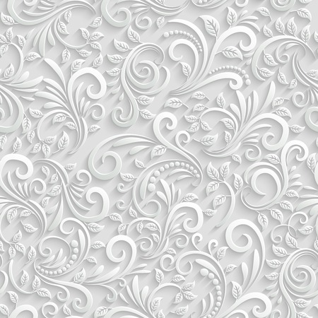 white textured paper: Floral 3d Seamless Background