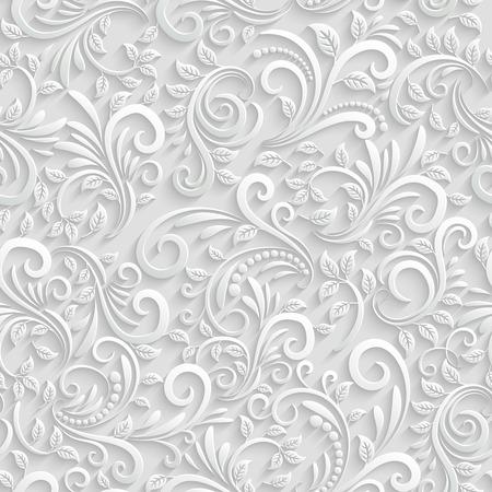 ślub: Floral 3d szwu tła