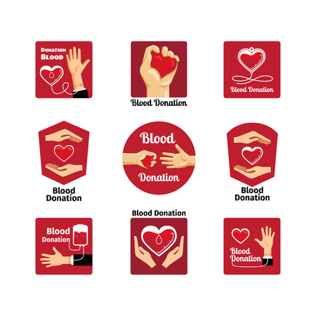 clean artery: Blood donation labels and badges Illustration