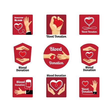 Blood donation labels and badges Illustration