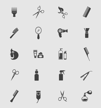 hairdressing scissors: Black Barber Shop Icons