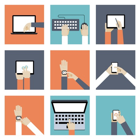 hands on keyboard: Hands Holding Digital Devices Illustration