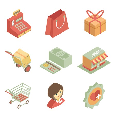 supermarket cash: Isometric shopping icons Illustration