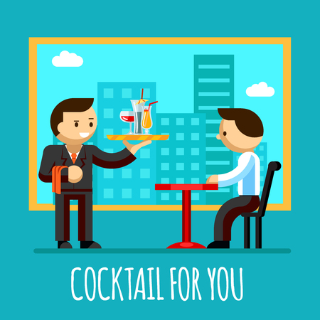 waiter tray: waiter brought cocktail to visitor table in the cafe Illustration