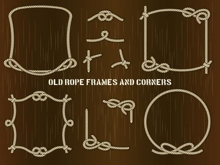 Marcos vieja cuerda y esquinas sobre fondo marrón