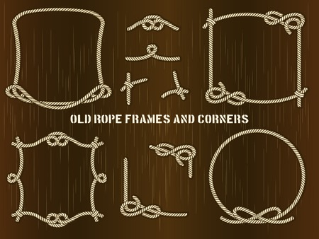 rope background: Old Rope Frames and Corners on Brown Background