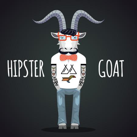 goat horns: Hipster goat vector Illustration