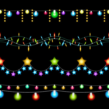 christmas lights: Christmas lights patterns Illustration