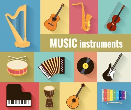 fortepian: Instrumenty muzyczne wektor zestaw Ilustracja