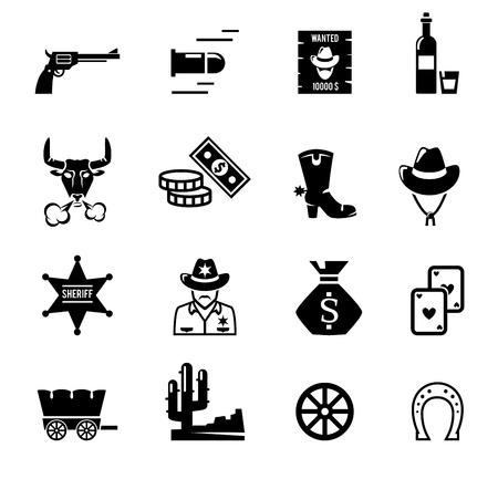vaquero: Iconos del salvaje oeste Vectores