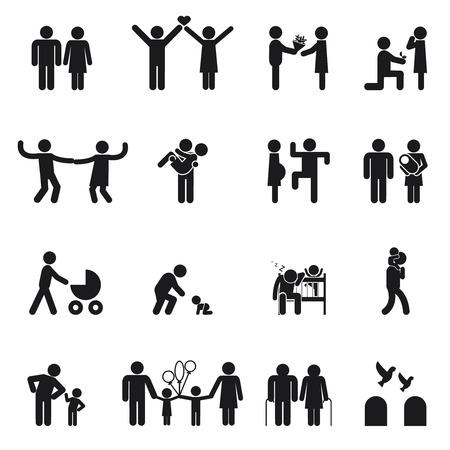 mujer hijos: Iconos vectoriales familia