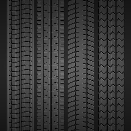 tyre tread: Wheel tire set Illustration