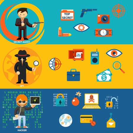 Spy, secret agent and cyber hacker characters Vector