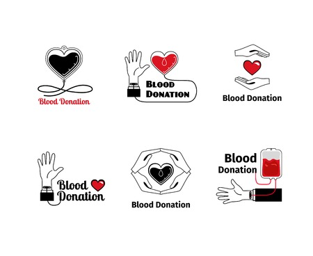 clean blood: Blood donation or emblem set