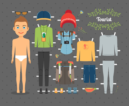 paper hats: Tourist Boy Paper Doll with Clothes and Shoes