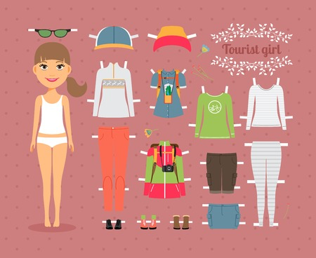 fashion accessories: Tourist Girl Paper Doll with Clothes and Shoes