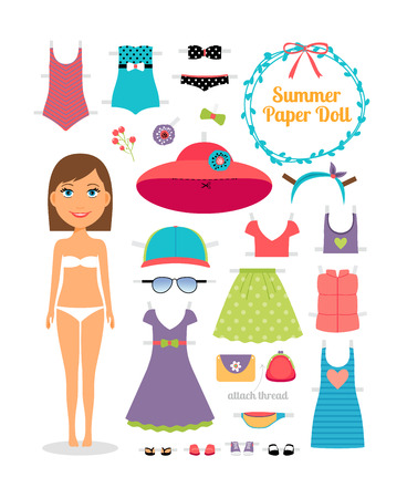 white dress: Summer paper doll. Girl with dress and hat