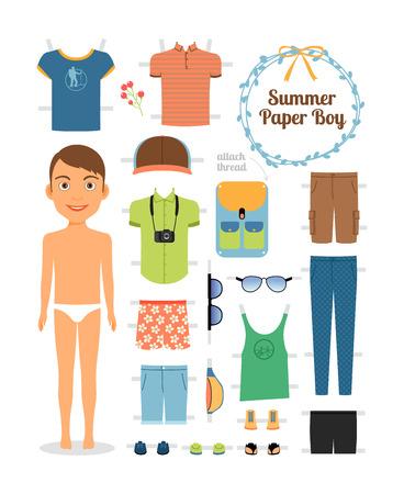 Muchacho Muñeca de papel en ropa de verano y zapatos Vectores