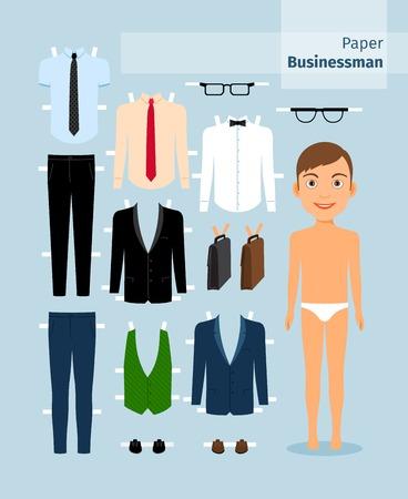Hombre de negocios de papel. Traje, camisa, gafas y maletín