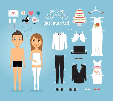mu�ecas de papel: Apenas casado Mu�ecas de papel con el Conjunto de boda rellenan Vectores