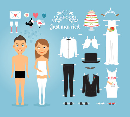 cutting: Just Married Paper Dolls with Set of Wedding Stuff