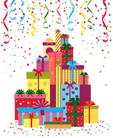 wrap wrapped: Wrapped presents or gift boxes stack Illustration