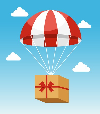 airborne: Red and White Parachute Holding Delivery Box