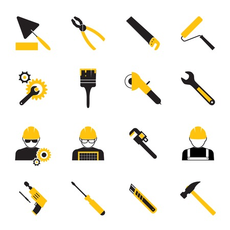 vice grip: Construction Workers and Tools Icons