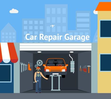 Caricaturé réparation de voitures Garage Banque d'images - 34568233