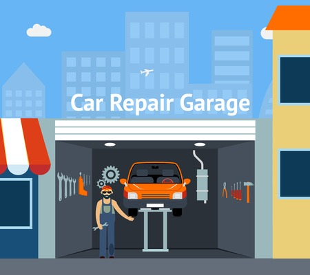 Cartooned Car Repair Garage