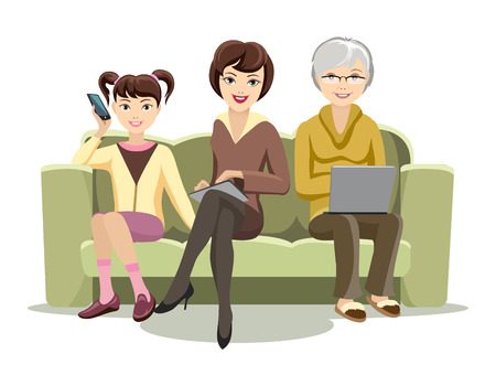 girl using laptop: Sitting Females on Couch with Gadgets