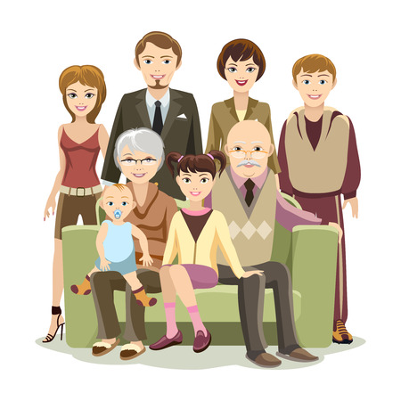 lineage: Cartooned Big Happy Family at the Sofa