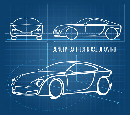 car drawing: Concept car technical drawing