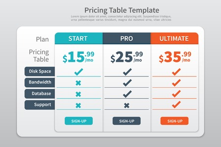 Pricing Table Template Graphic Design Illustration