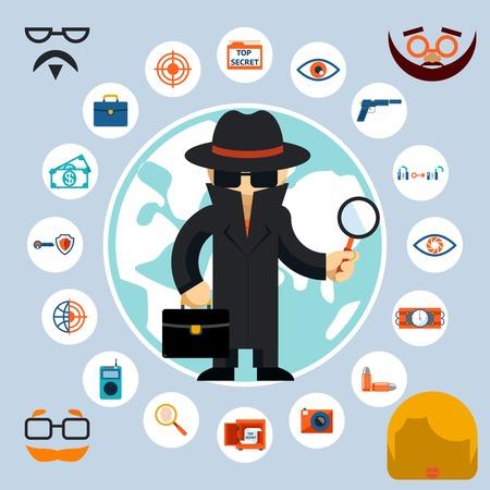 agent de sécurité: Spy avec accessoires icônes Illustration